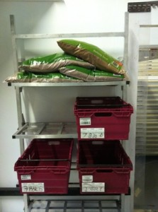Fold away shelvng with 100kg bags